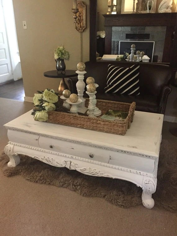 White Chalk Paint Coffee Table Rustic Furniture By