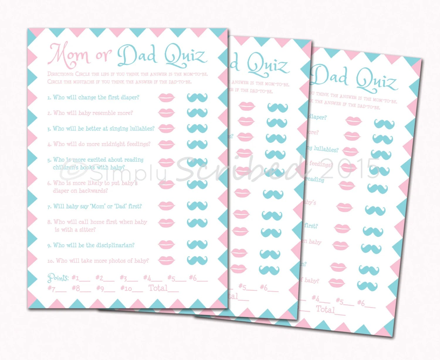 Printable Baby Shower Game Mom Or Dad Trivia Lips And