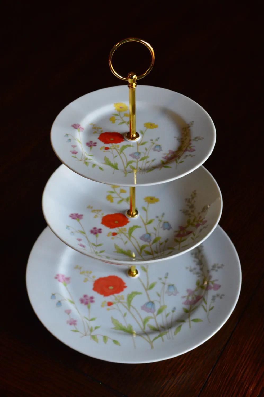 Three Tiered Dessert Stand English Garden 3 Tier Cupcake