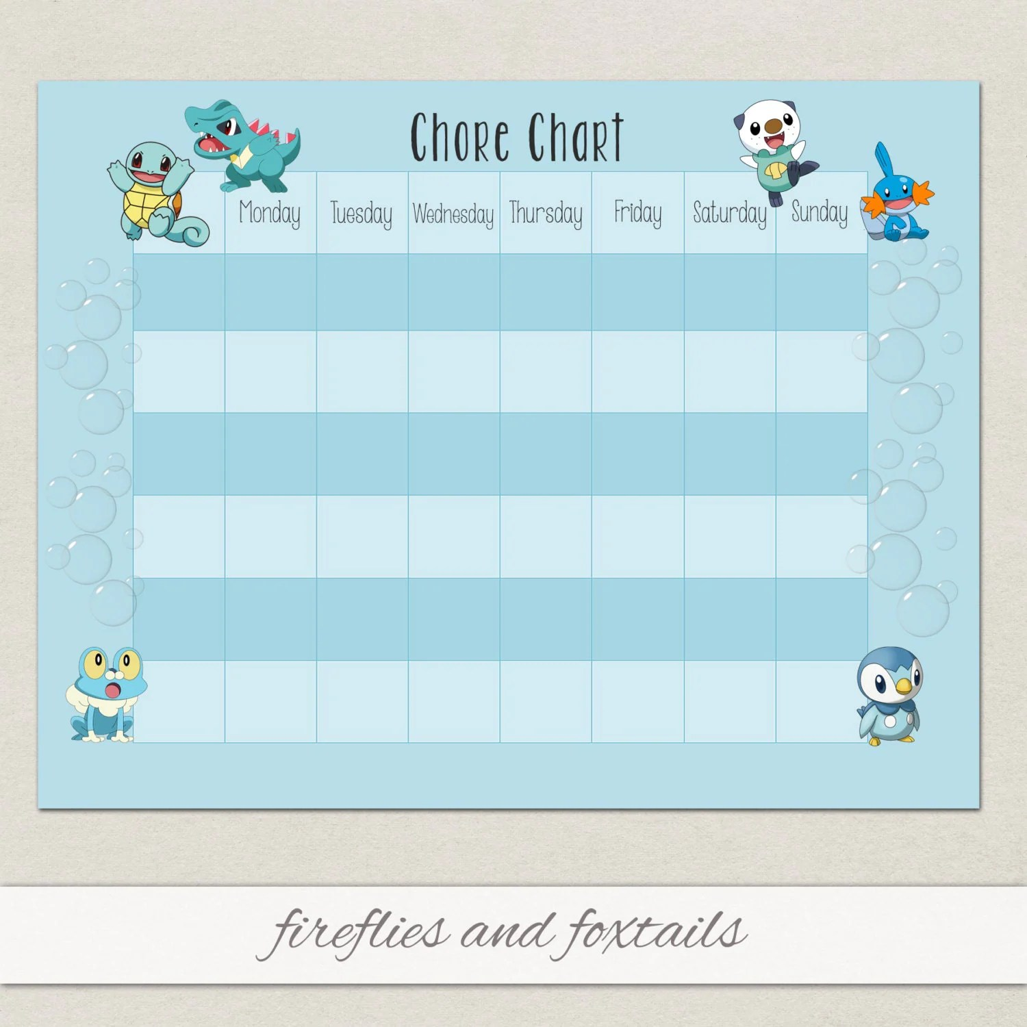 Blank Water Pokemon Behavior Or Chore Chart Visual Schedule