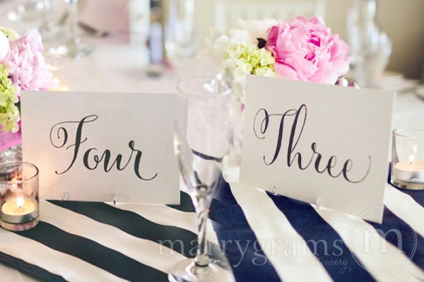 Table Number Signs Perfect for Wedding Reception by marrygrams