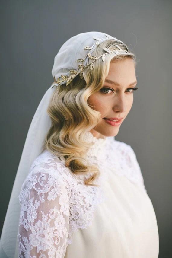 Grecian Veil Juliet Cap Veil Wedding Veil Gold Leaf