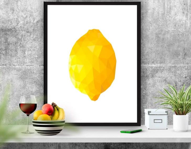 Fruit Poster Lemon Printable Kitchen Decor Abstract
