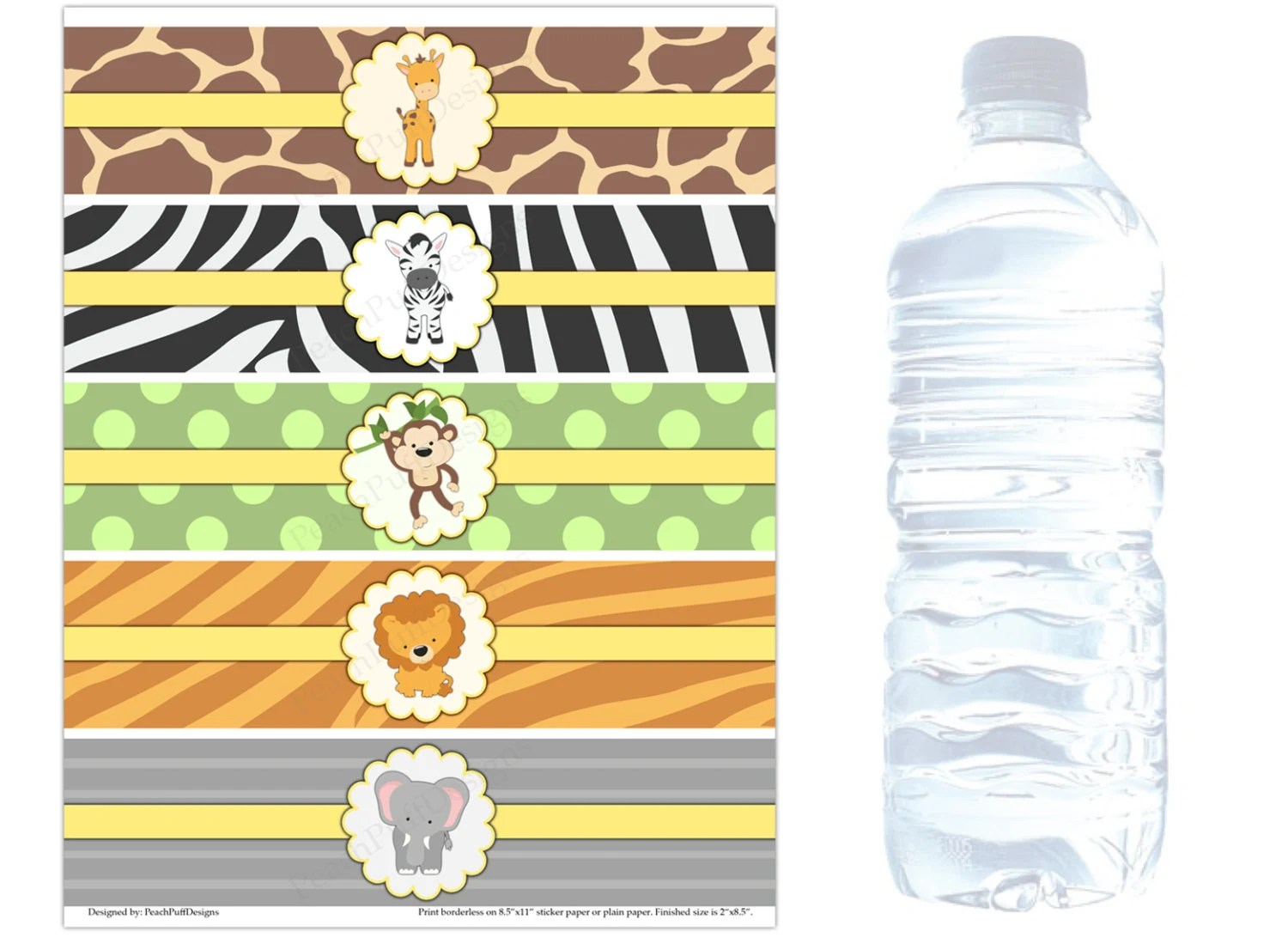 Safari Water Bottle Labels Instant Download Safari Baby