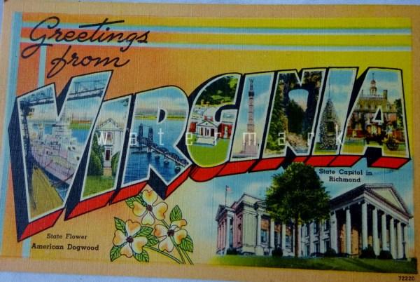 Vintage Postcard Greetings From Virginia Linen Postcard