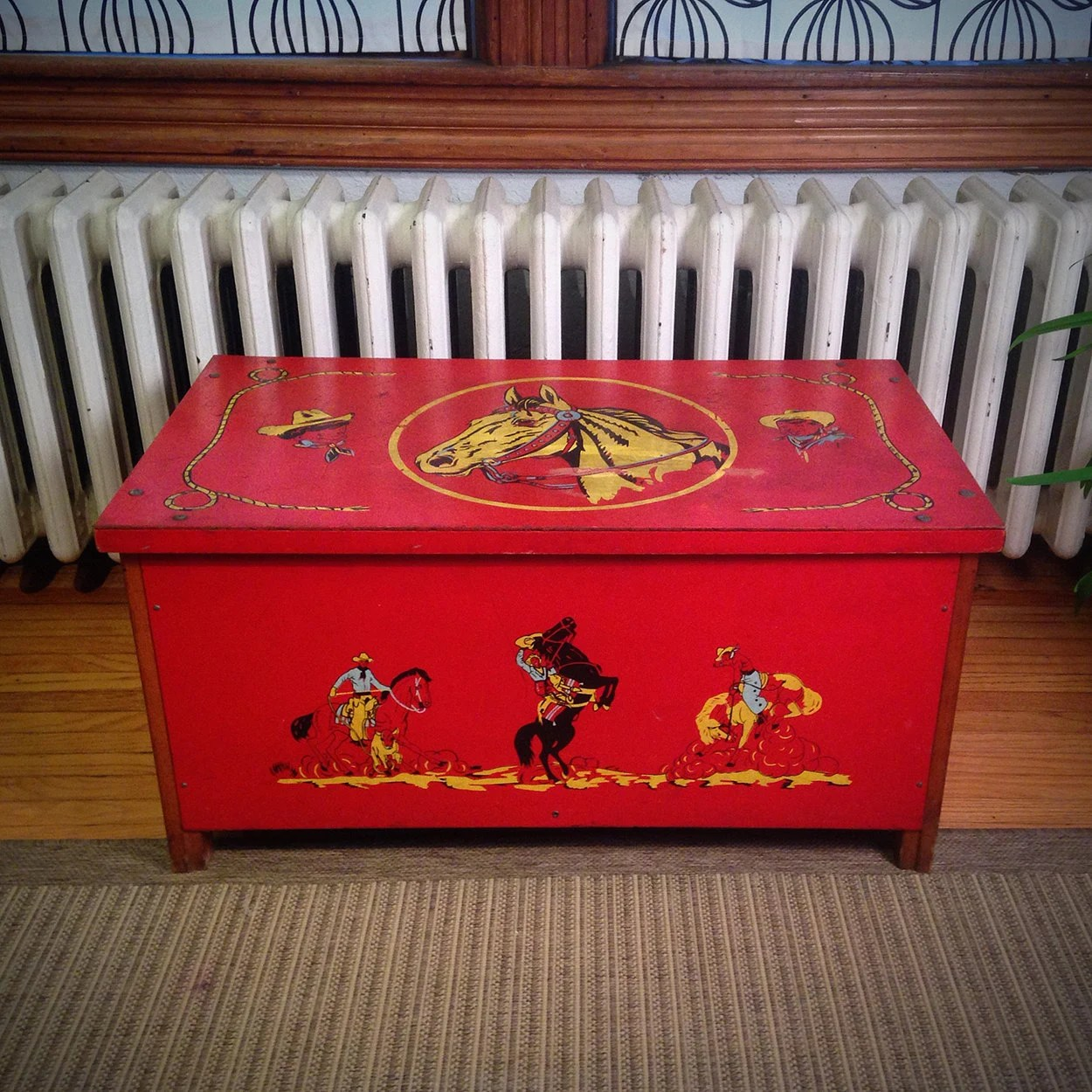 Vintage red toy box featuring cowboys and horses haute juice for Mid century modern toy box