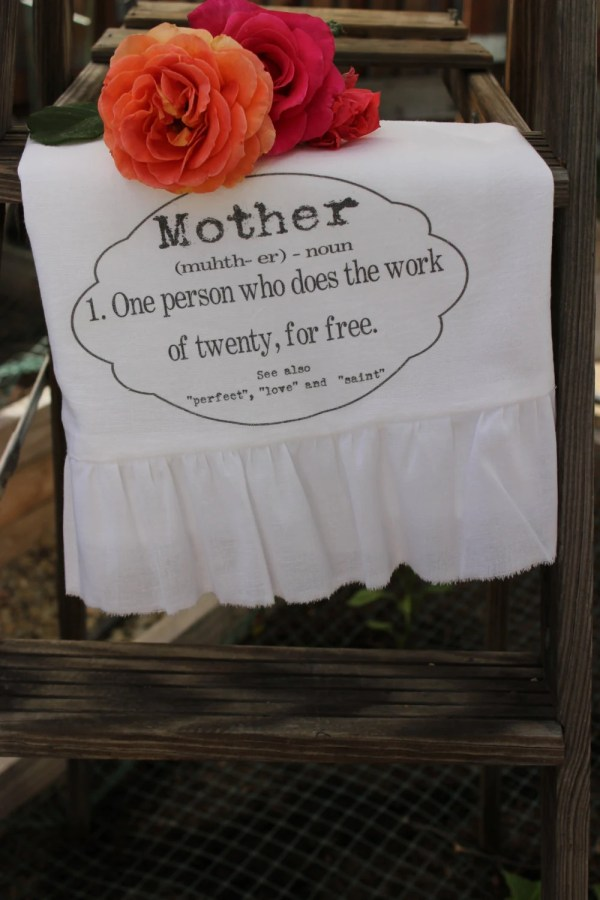 Items similar to Mothers Day Ruffled Towel, Shabby Chic ...