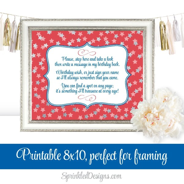 Birthday Guest Book Sign - July 4th Red White Blue Silver ...