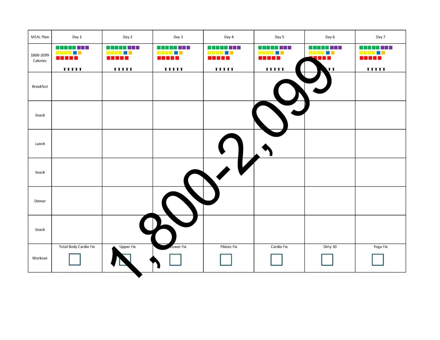 21 Day Fix Meal Planning Template Calories
