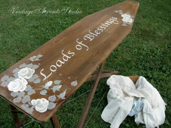SALE Antique Wood Ironing Board Vintage Farmhouse Table
