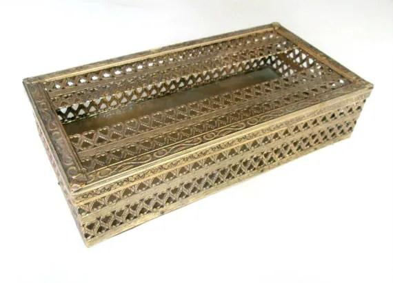 Hollywood Regency Vanity Tissue Box // Antique Gold Metal