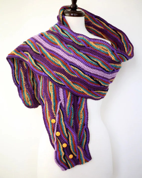 Purple Wave - Button Down Double Sided Handmade Crochet Scarf in Peruvian Highland Wool