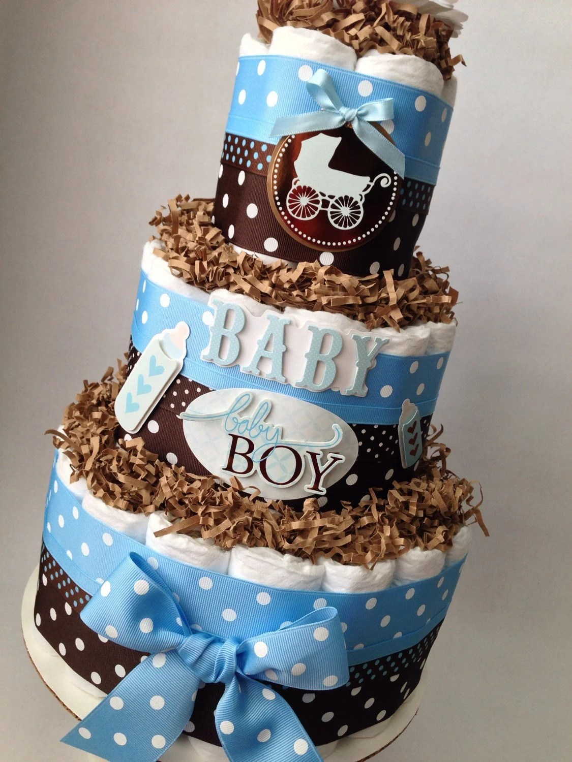 Blue And Brown Boy Diaper Cake For Baby Shower Decoration Or