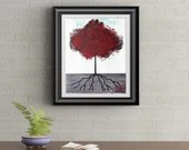 Red Tuft Tree Signed Art Print of Signature Original By Rafi Perez