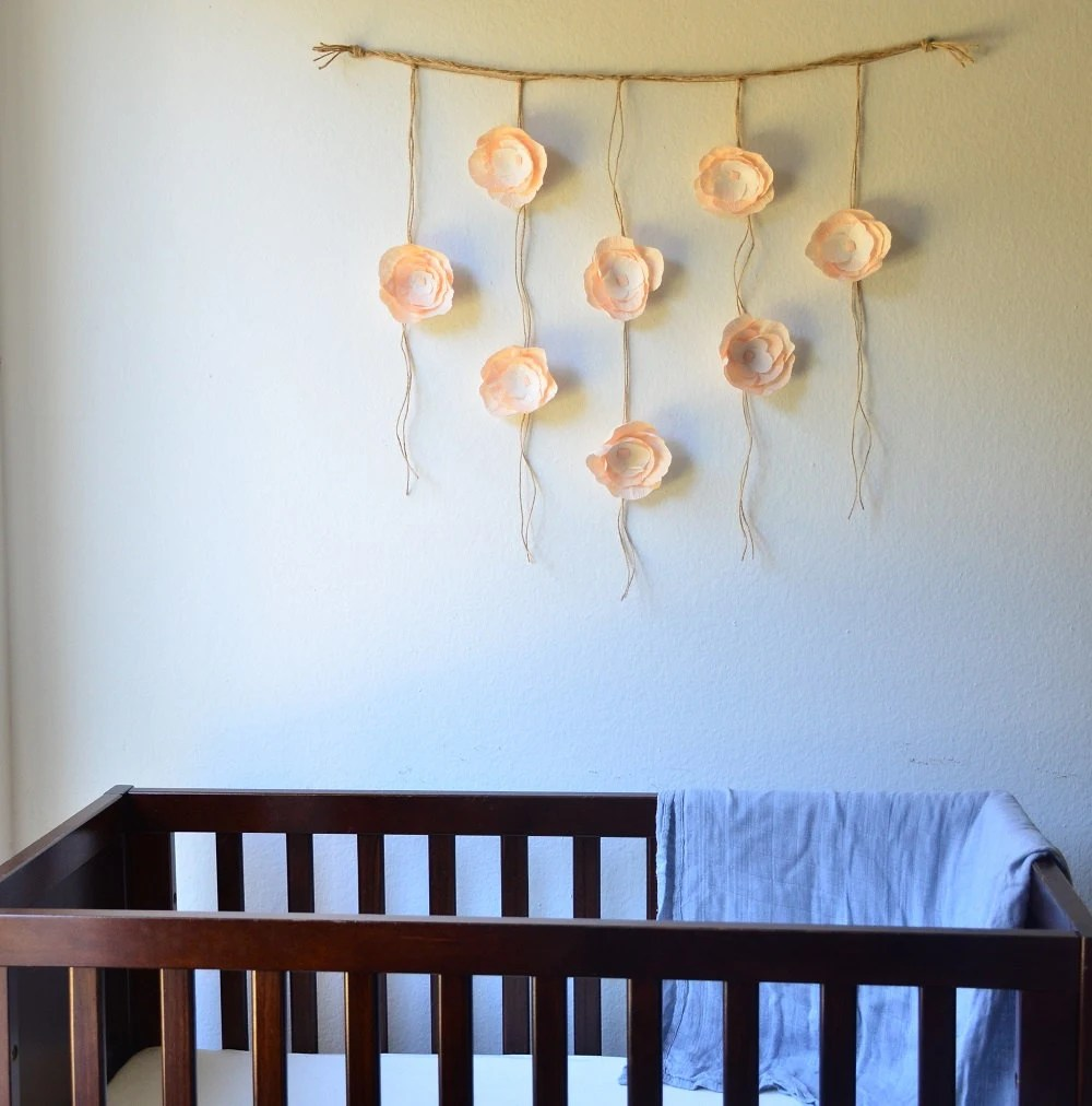 Boho Paper Flower Wall Hanging-Nursery Wall by SophiaandRoseCo on Hanging Wall Sconces For Flowers id=65582