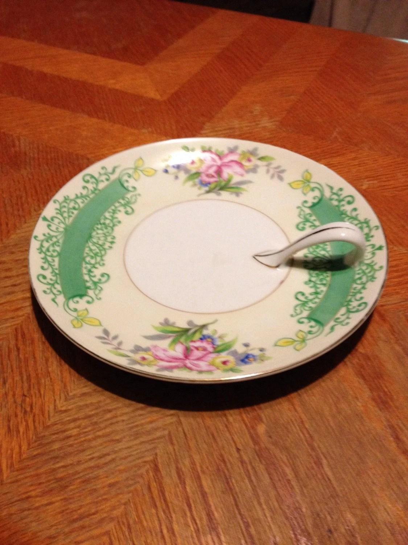 Porcelain serving plate with handle vintage antique decorative m green japan snack - Decoratie snack ...