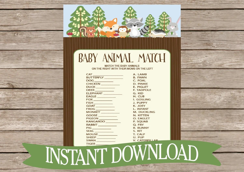 Woodland Baby Shower Game Animal Match Forest Animals Baby