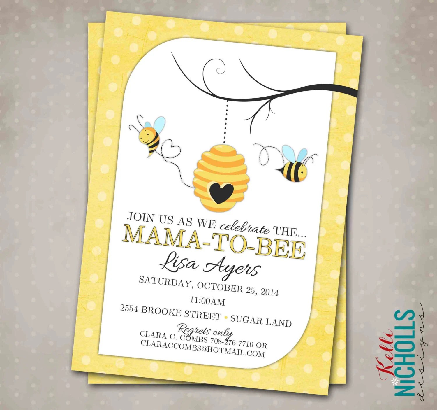 Bumble Bee Baby Shower Invitation Custom By Kellinichollsdesigns