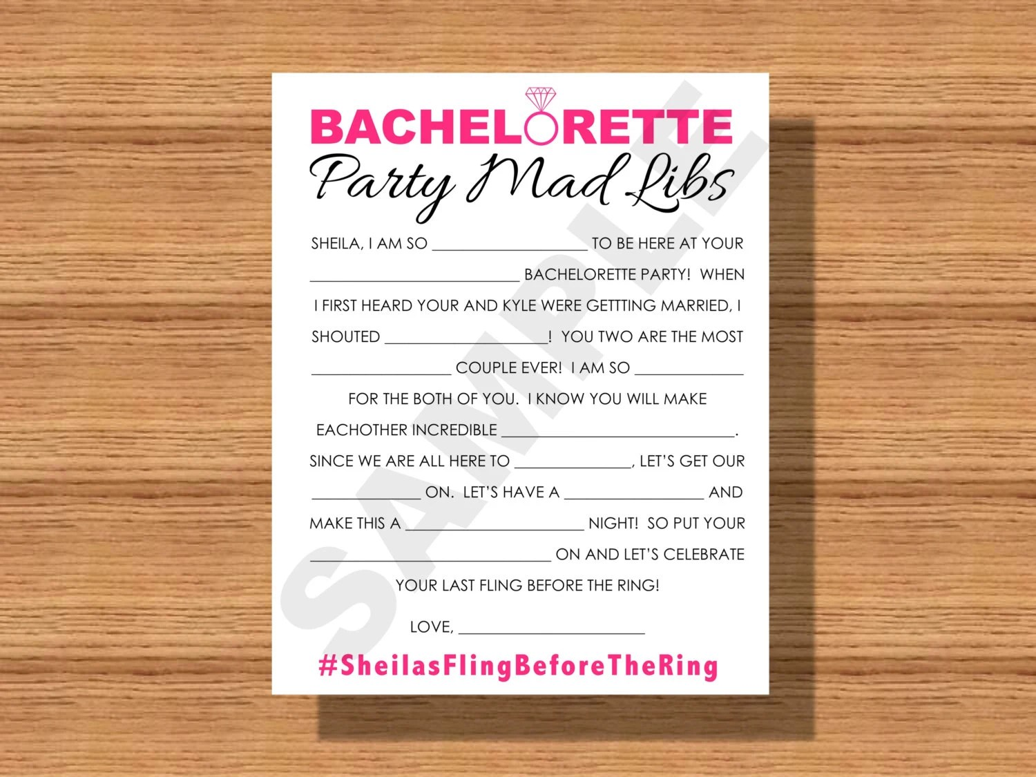 Bachelorette Party Mad Libs Printable Bachelorette Party Mad