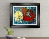 Blonde Tiger Mermaid Signed Original Art Print By Rafi Perez