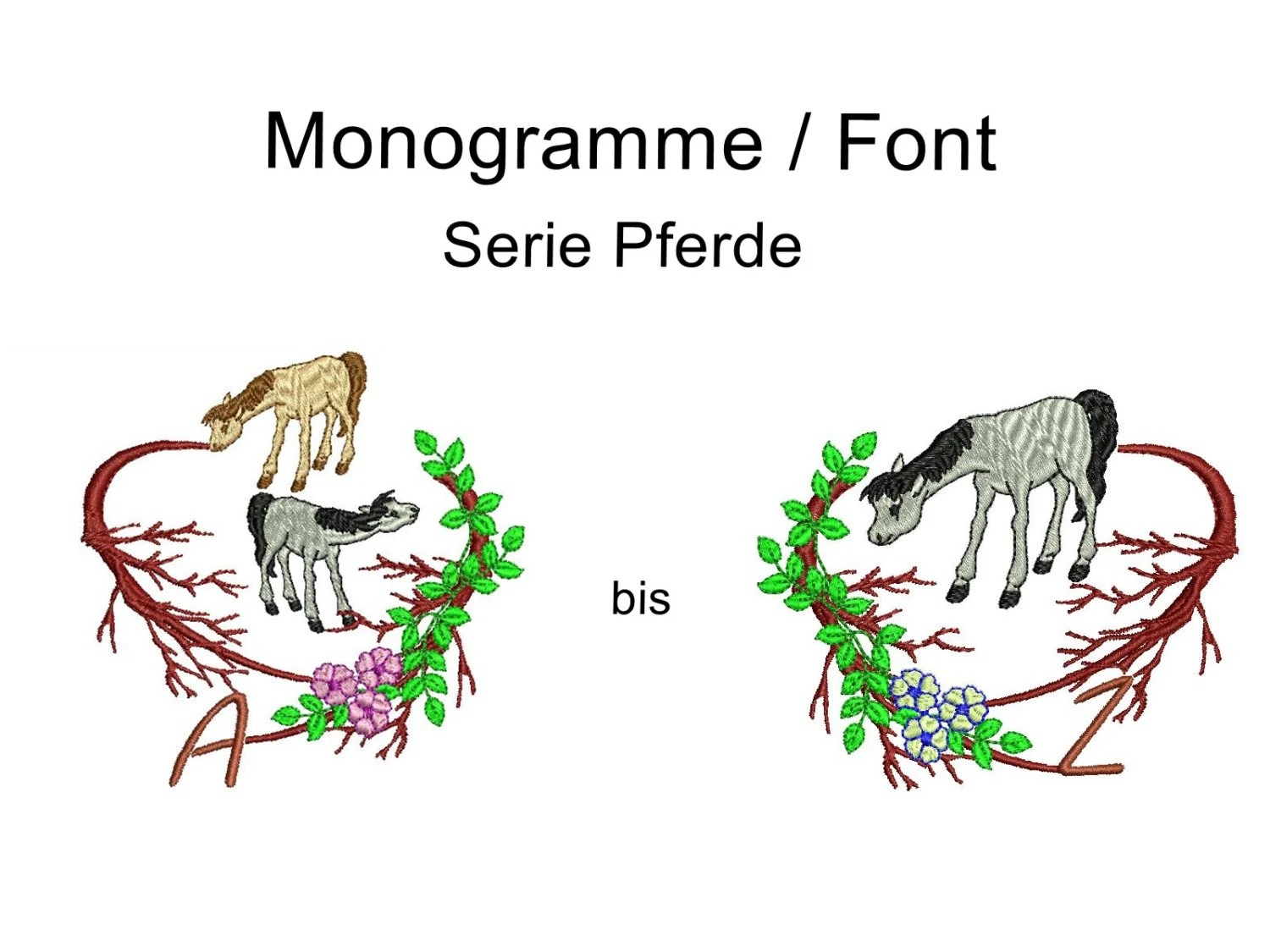 Embroidery Fonts Embroidery File Horses Ponies Roses Font
