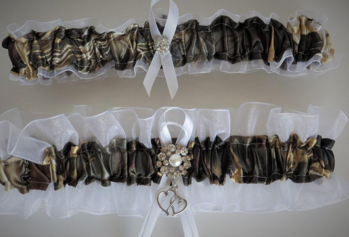 Realtree Camo And White Garter Wedding Garter Set Bridal