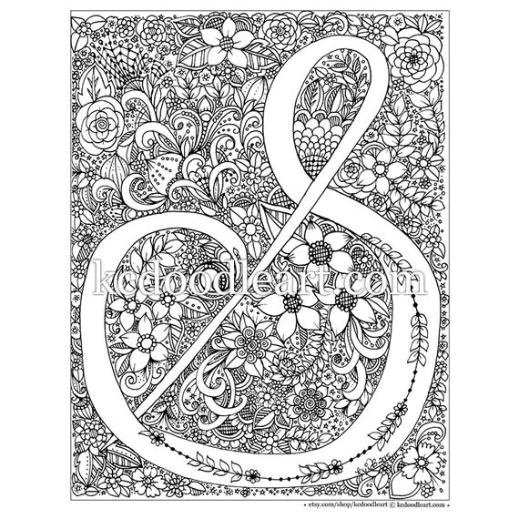 instant digital download adult coloring page letter s