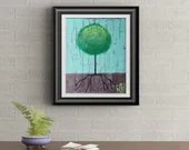 Green Lollipop Tree Signed Art Print of Signature Original By Rafi Perez