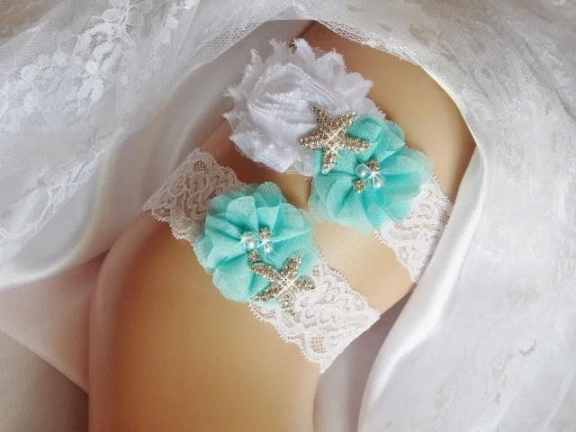 Beach Wedding Garter Aqua Blue Garters Starfish By