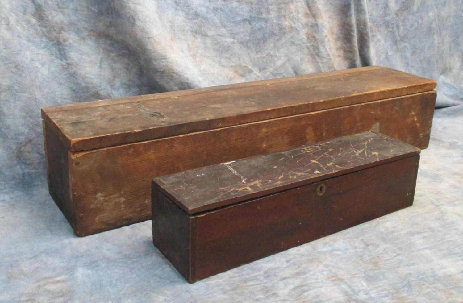 2 Long Thin Wood Boxes Primitive Trunk Storage Shipping