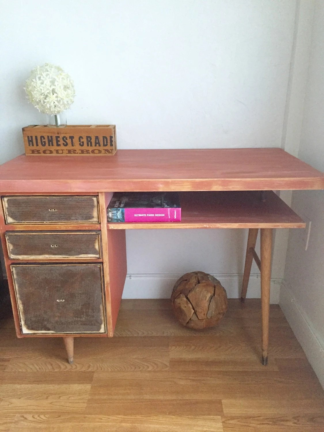 Vintage Entry Table Display ~ Vintage mid century modern distressed shabby chic desk