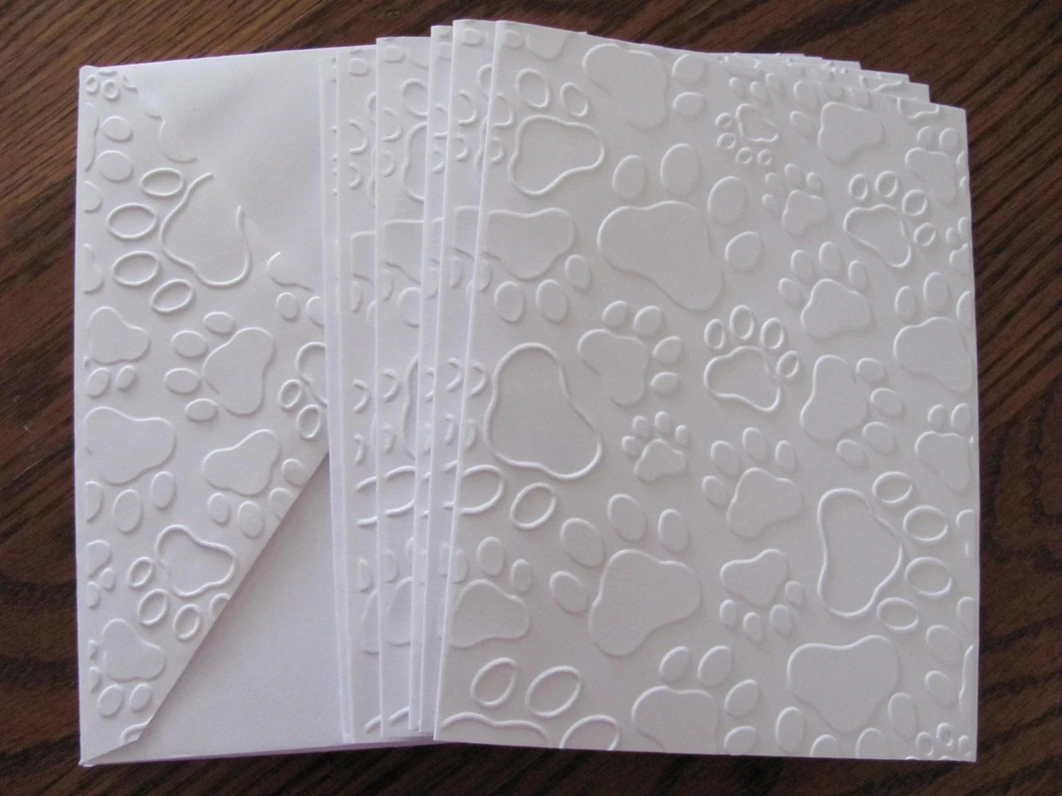 Paw Print Embossed Cards Note Cards Embossed Cards Boxed