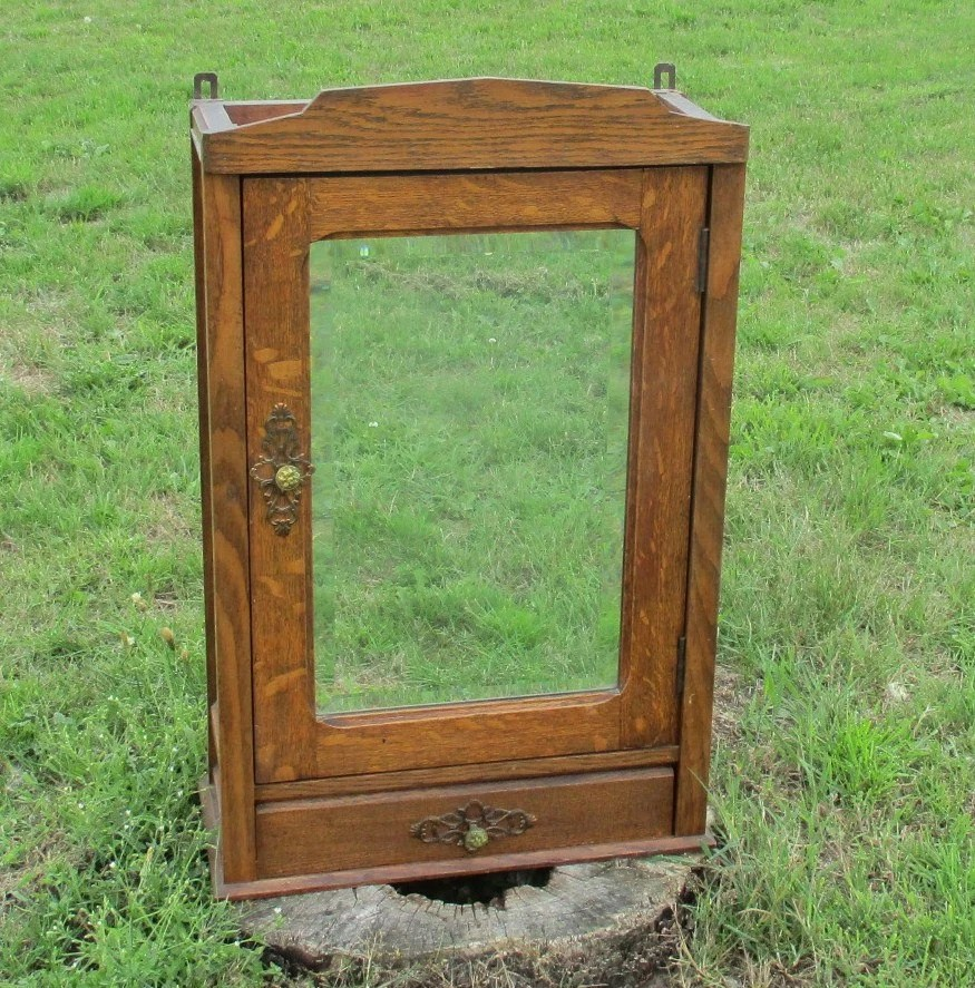 Large vintage wooden medicine bathroom cabinet beveled - Large medicine cabinet mirror bathroom ...