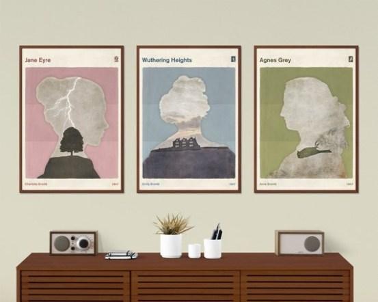 Brontë Sisters set - Large, minimalist poster, literary poster, literature poster, illustration poster, printable wall art, digital download