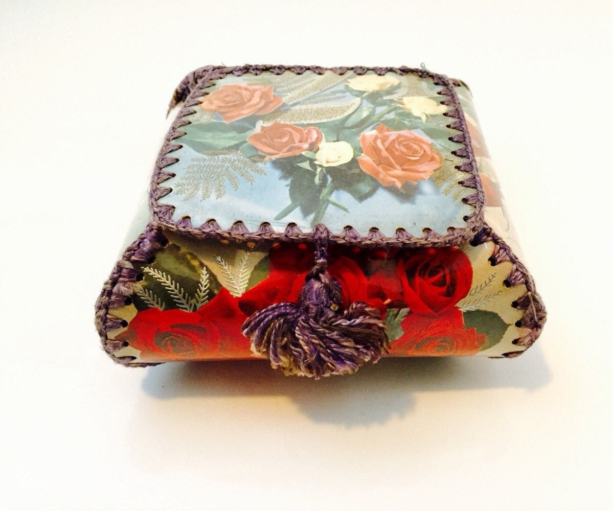 1960s handmade greeting card sewn box with lid floral