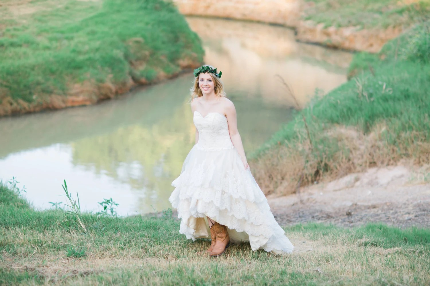 Country Wedding Dress With Lace High Low By