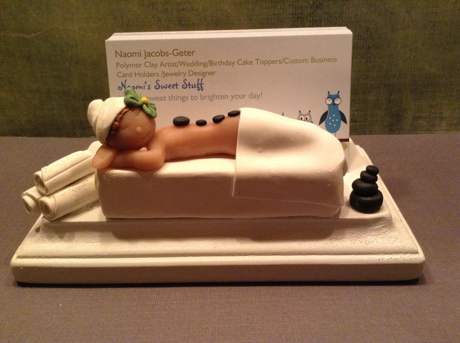 Polymer Clay Business Card Holder Spa Business By