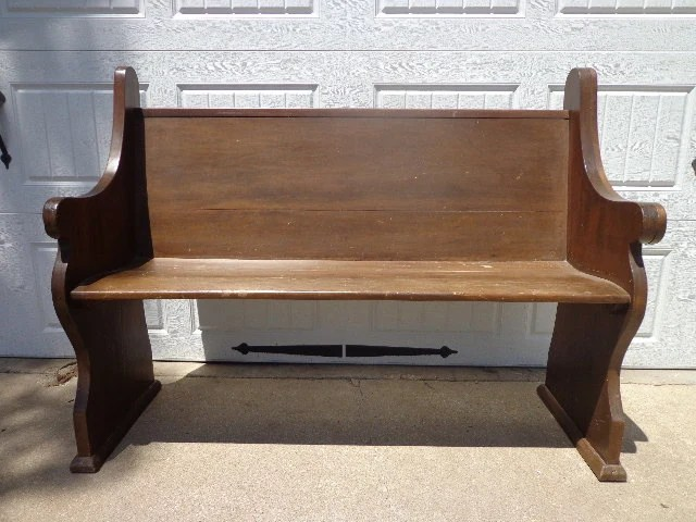 Antique Solid Wood Church Pew Bench Deacon Seating Country