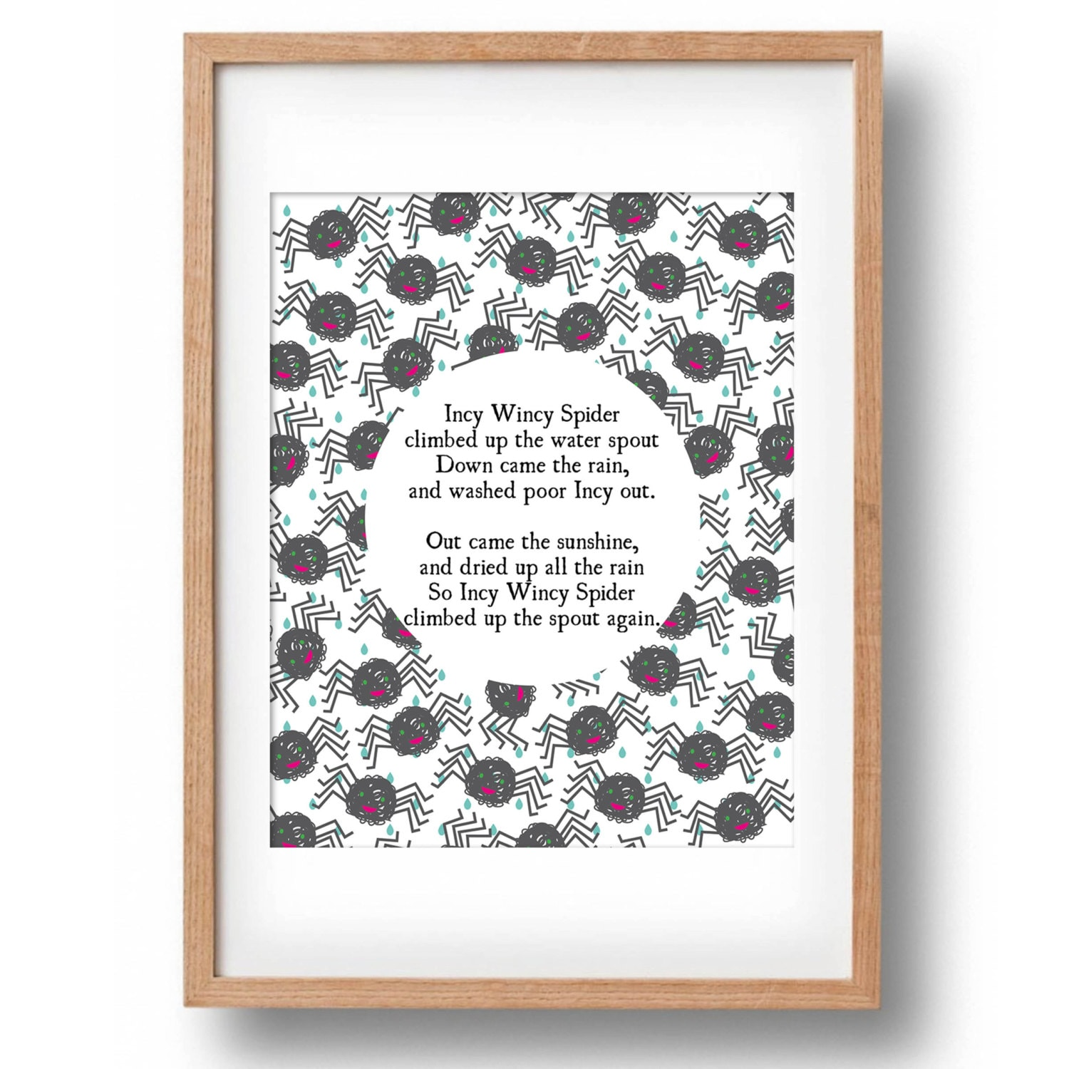 Incy Wincy Spider Nursery Rhyme Printable Wall Decor Nursery