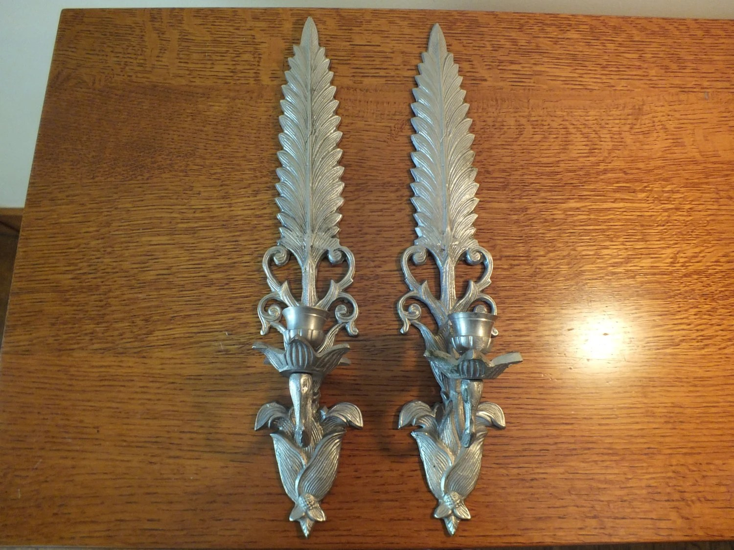 Pair of Vintage Candle Wall Sconces leaf design in silver on Silver Wall Sconces For Candles id=21814