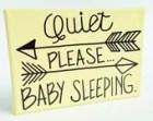 "Baby Sleeping Door Hanging Sign - 5"" x 7"" Hand Painted Yellow Canvas Nursery Sign"