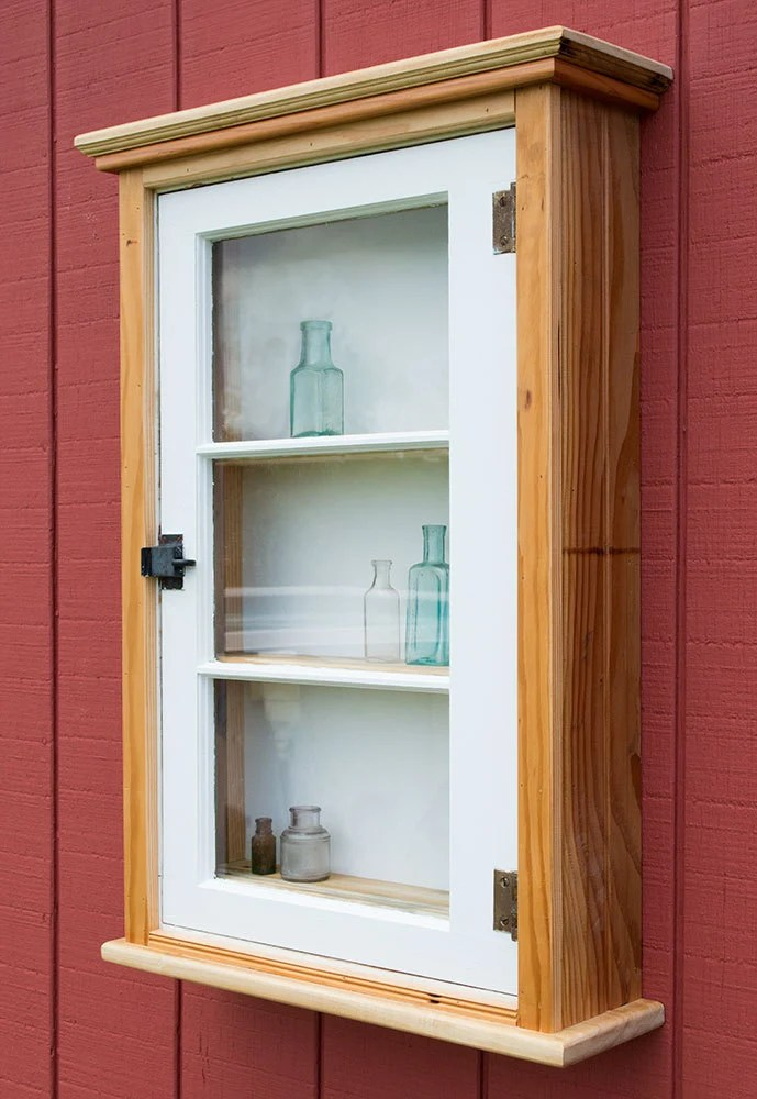 Reclaimed Wood Curio Cabinet Rustic Window Cabinet