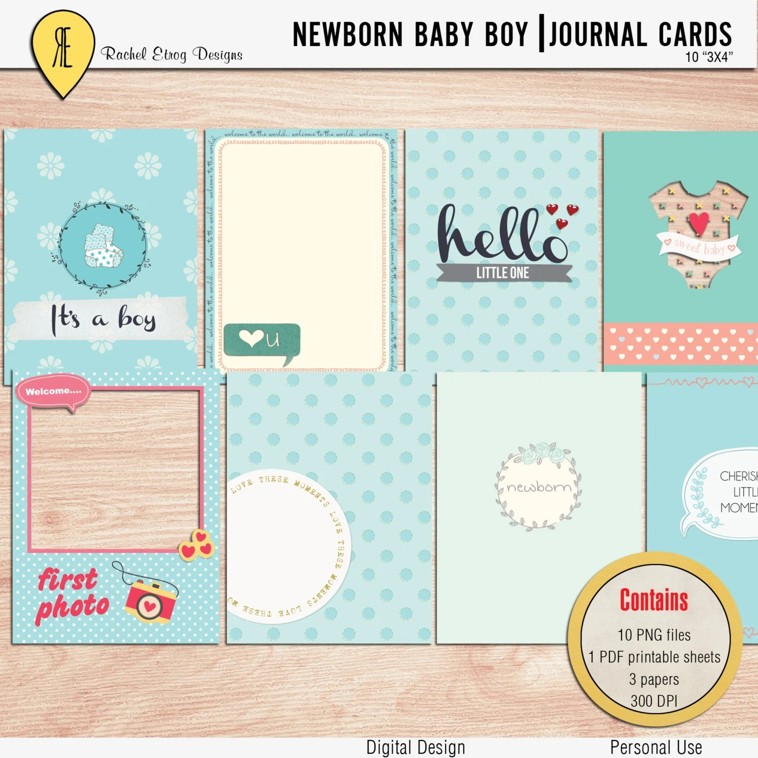 Newborn Baby Boy Journal Cards Instant Download Printable