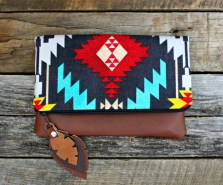 Aztec Navajo Foldover Clutch / Ethnic Tribal Style