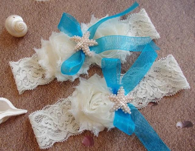 Something Blue Beach Wedding Garter Caribean Blue Starfish
