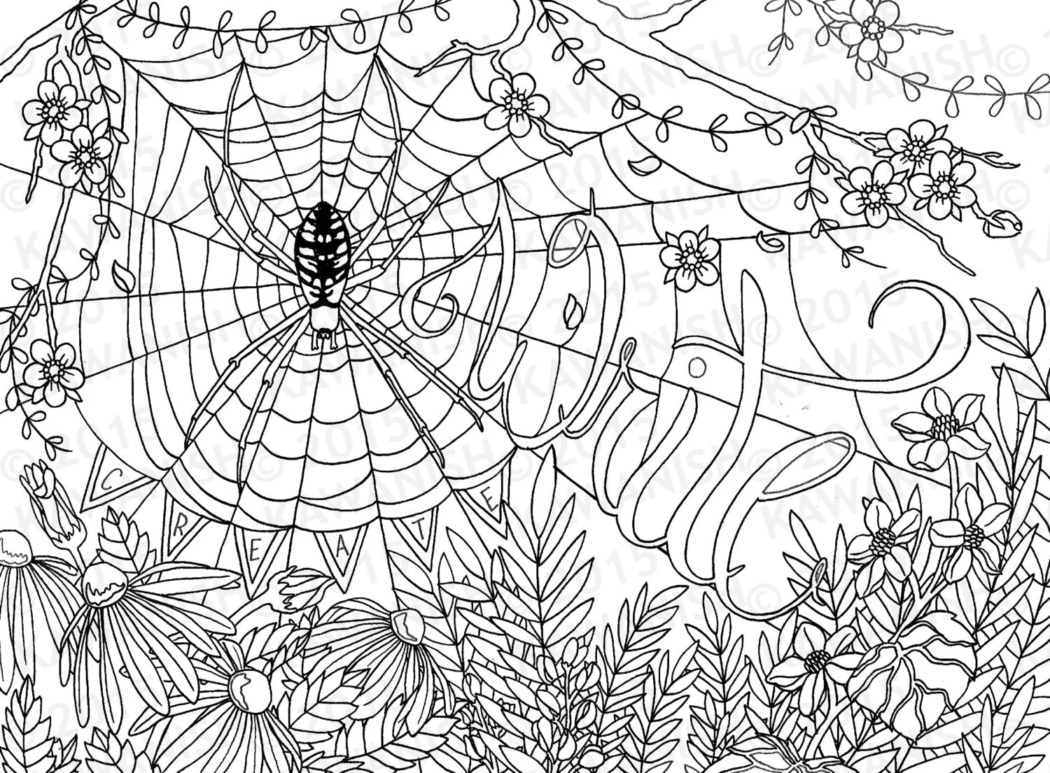 Creative Writing Spider Flower Adult Coloring Page T Wall