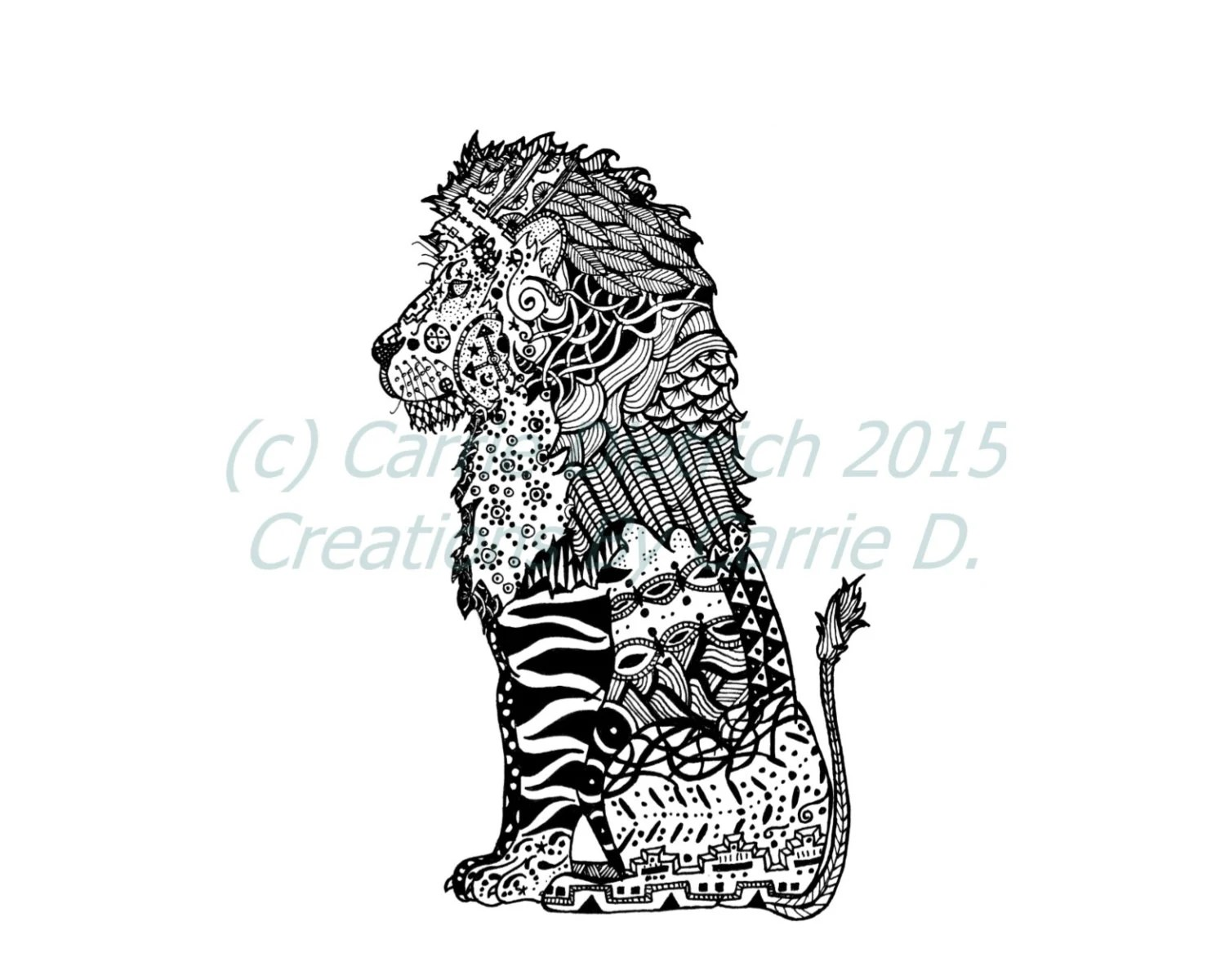 Art Black And White Art Pen And Ink Lion 8 X 10 Art Lion
