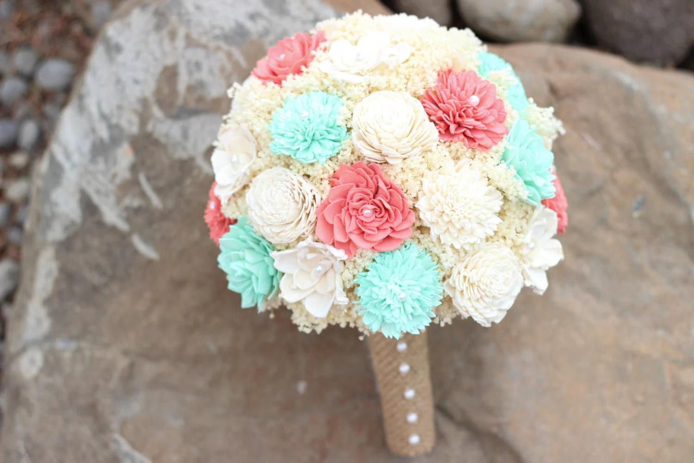 Wedding BouquetCoralMint Bridal Bouquet Sola Flower