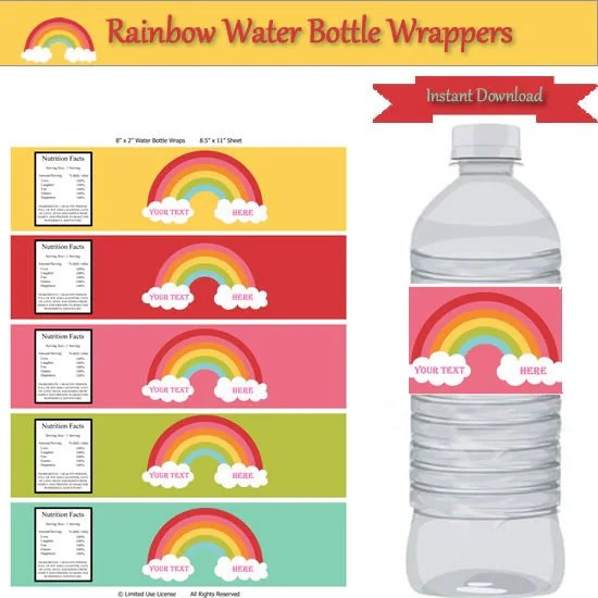 rainbow party water bottle labels personalize birthday decorations dessert table instant. Black Bedroom Furniture Sets. Home Design Ideas
