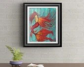 Angel Mermaid Signed Art Print of Signature Original By Rafi Perez